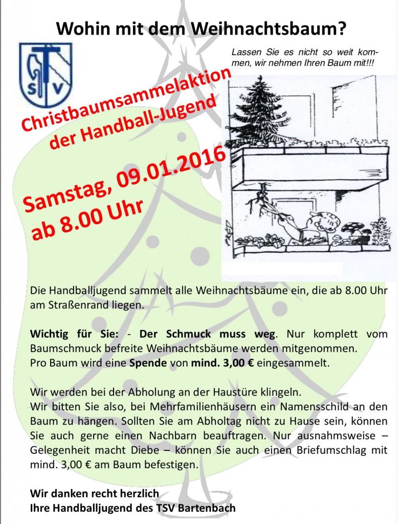 Christbaumsammelaktion samstag for Koch holzwerke
