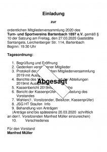Hauptversammlung 2020 abgesagt!!!! @ Clubhaus