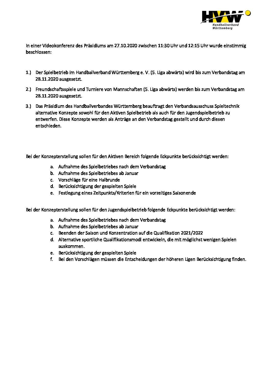 Nachdem die Spiele der 1.Männermannschaft und 2.Frauenmannschaft am vergangenen Wochenende (24./25.Oktober) schon Corona-bedingt ausfielen hat der HVW nun am 27.Oktober 2020 beschlossen den kompletten Spielbetrieb bis 28.November 2020 auszusetzen. Details: […]