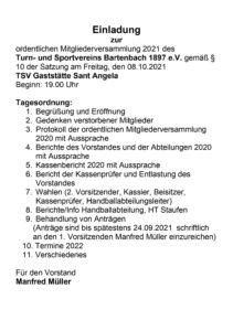 TSV-Hauptversammlung/Handballabteilungsversammlung 2021 @ TSV Clubhaus