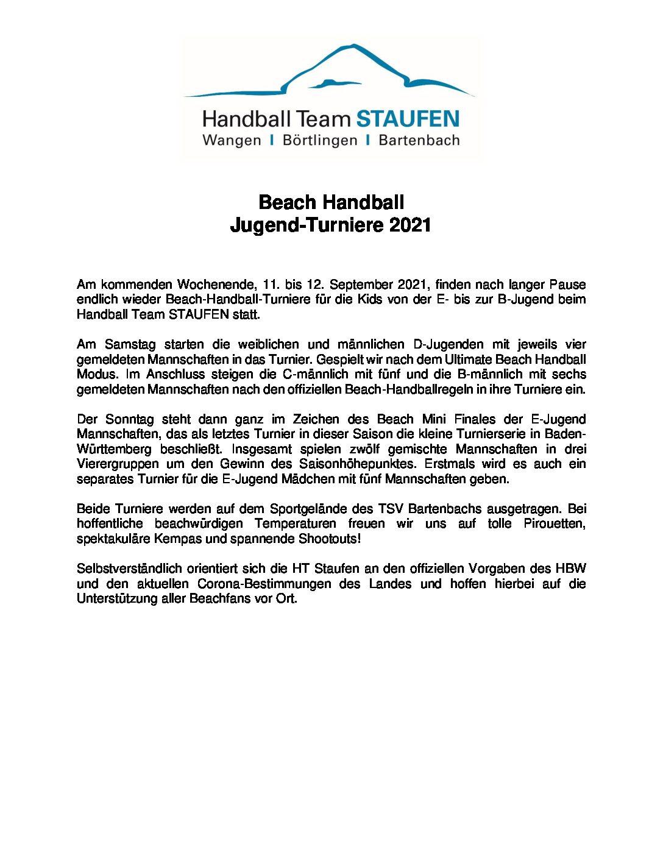 Am kommenden Wochenende, 11. bis 12. September 2021, finden nach langer Pauseendlich wieder Beach-Handball-Turniere für die Kids von der E- bis zur B-Jugend beimHandball Team STAUFEN statt. Am Samstag starten […]